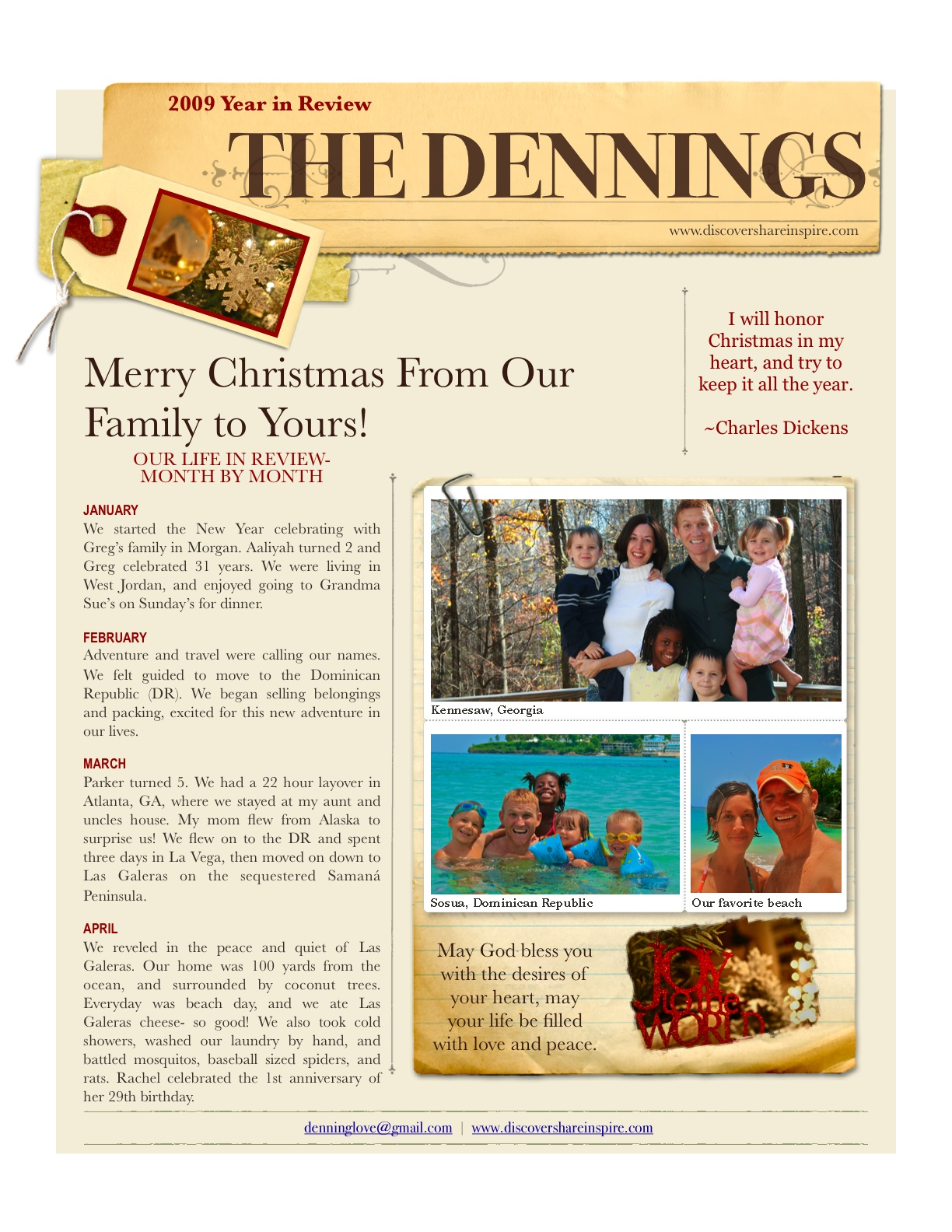 Family Newsletter Sivandearest